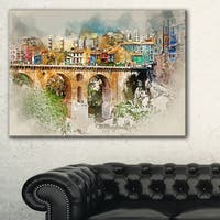 Villajoyosa City Digital Art Bridge - Cityscape Artwork Canvas