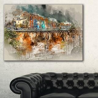 Villajoyosa Town Digital Painting - Cityscape Artwork Canvas - Red