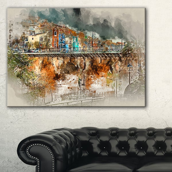 Villajoyosa Town Digital Painting - Cityscape Artwork Canvas