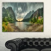 Mountain Chalet at Sunset Panorama - Landscape Wall Art Canvas Print - Green