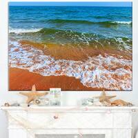 Summer Seashore with White Waves - Modern Beach Canvas Art Print