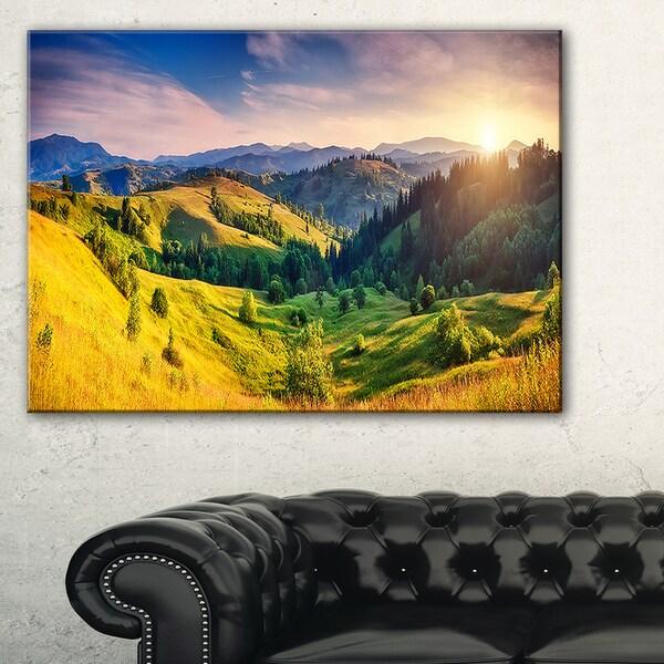 Green Hills Glowing by Sunlight - Landscape Wall Art Canvas Print ...