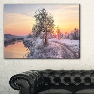 Winter Sunrise over Frosty Field - Landscape Print Wall Artwork