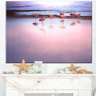 Flamingo Birds on Bolivia Beach - Modern Beach Canvas Art Print