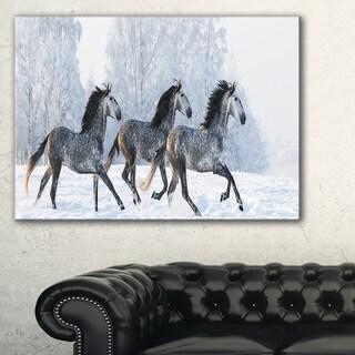 Herd of Horses Run Across Snow - Landscape Print Wall Artwork