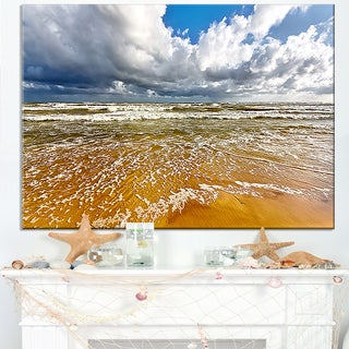 Stormy Summer Sea with White Clouds - Seashore Canvas Wall Art