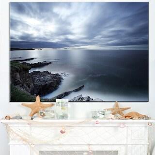 Gloomy Bluish Atlantic Beach Portugal - Seashore Canvas Wall Art