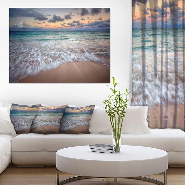 Waves Crashing Serene Seashore - Seashore Canvas Wall Art & Shop Waves Crashing Serene Seashore - Seashore Canvas Wall Art - On ...