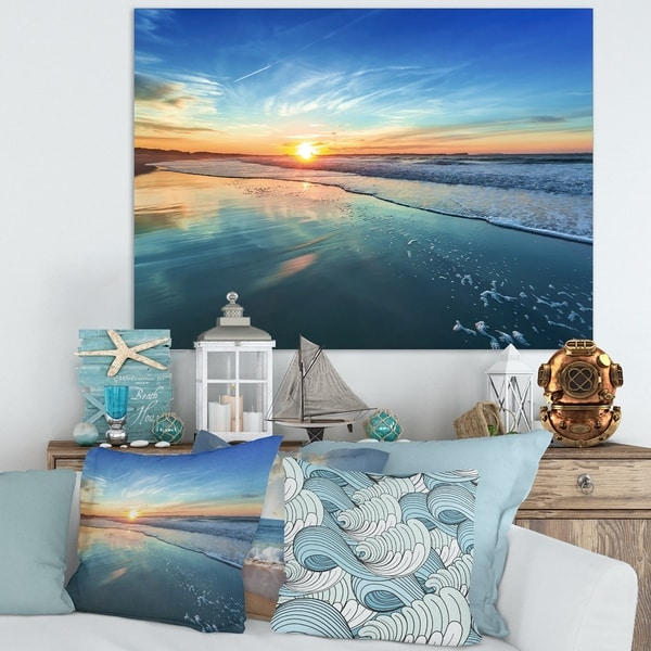Blue Seashore with Distant Sunset - Seashore Canvas Wall Art. Opens flyout.