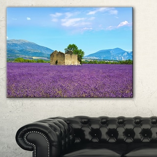 Old House and Tree in Lavender Field - Oversized Landscape Wall Art Print