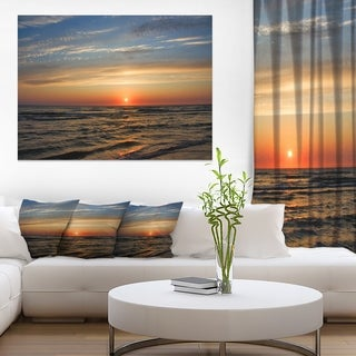 Red Sunset with Dark Ocean Waves - Seashore Canvas Wall Art