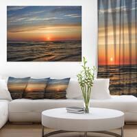 Red Sunset with Dark Ocean Waves - Seashore Canvas Wall Art