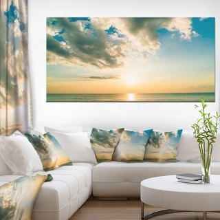 Clouds Together Over Blue Seashore - Seashore Canvas Wall Art