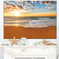 Incredible Seashore under Cloudy Sky - Seashore Canvas Wall Art
