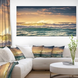 Sunrise and Shining Waves in Ocean - Seashore Canvas Wall Art - Blue
