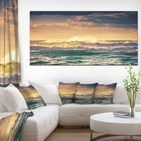 Sunrise and Shining Waves in Ocean - Seashore Canvas Wall Art