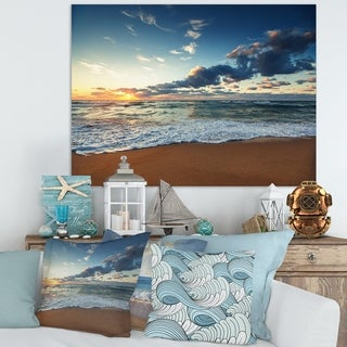 Sunrise And Glowing Waves In Ocean   Seashore Canvas Wall Art