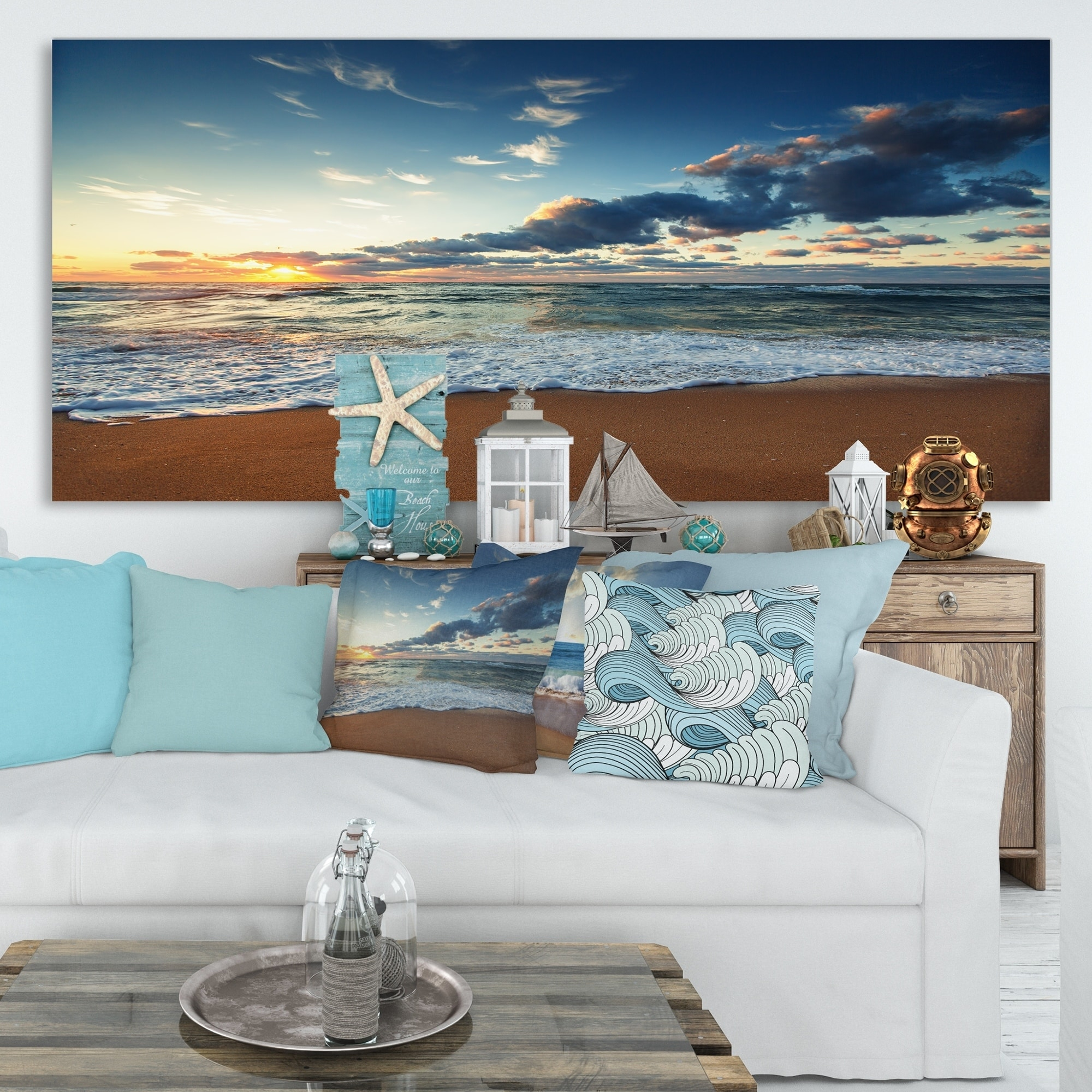Sunrise-and-Glowing-Waves-in-Ocean-Seashore-Canvas-Wall-Small thumbnail 7