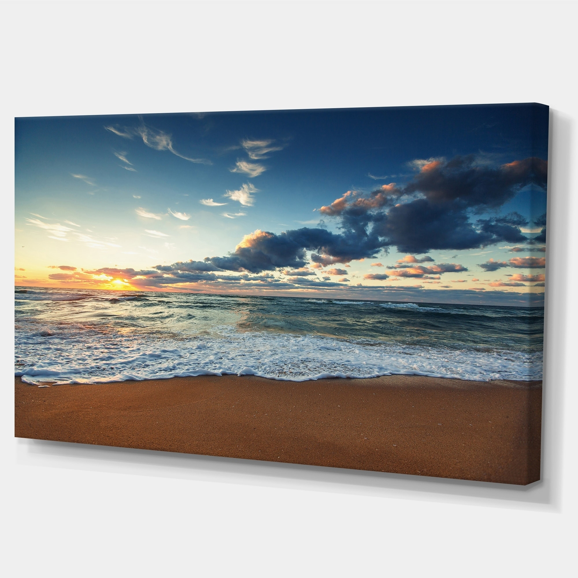 Sunrise-and-Glowing-Waves-in-Ocean-Seashore-Canvas-Wall-Small thumbnail 8