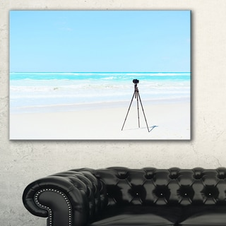 Digital Camera and Tripod on Beach - Oversized Landscape Wall Art Print