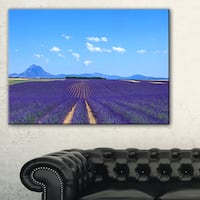 Lavender Blooming Fields and Trees - Oversized Landscape Wall Art Print - Blue