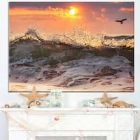 Sunrise and Roaring Ocean Waves - Seashore Canvas Wall Art