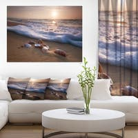 Waves Approaching Seashells on Sand - Beach Canvas Wall Art