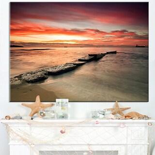 Wonderful Sunrise on Black Ocean - Beach Canvas Wall Art