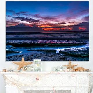 Exotic Dark Blue Coquina Dawn - Beach Canvas Wall Art