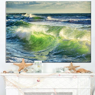 Sunrise and Shining Waves in Ocean - Beach Canvas Wall Art