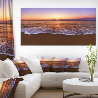 Orange Tinged Sea Waters at Sunset - Beach Canvas Wall Art