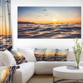 Orange Tinged Sea Waters at Sunrise - Beach Canvas Wall Art