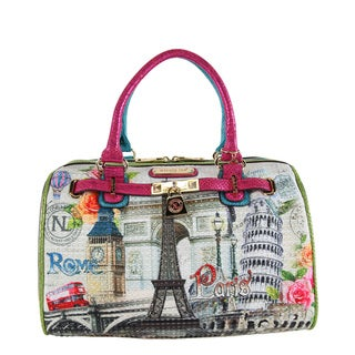 Nicole Lee Europe Print Boston Satchel Handbag