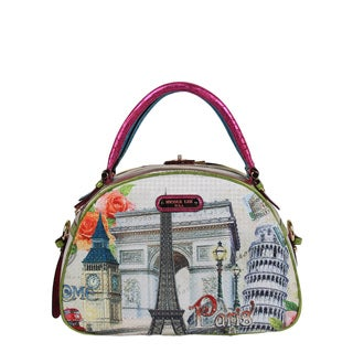 Nicole Lee Europe Print Bowler Satchel Handbag