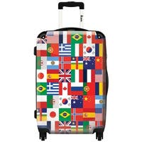 iKase 'Multi Flag'  Check-in 24-inch,Hardside Spinner Suitcase