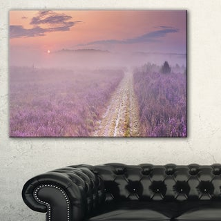 Path through Blooming Heather - Landscape Art Canvas Print