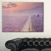 Path through Blooming Heather - Landscape Art Canvas Print - Purple