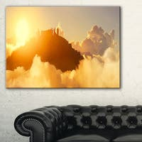 People Enjoying Sunset on Top of Mountain - Landscape Art Canvas Print - YELLOW