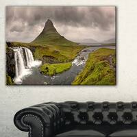 Kirkjufell Waterfalls in Grundarfjordur - Landscape Art Canvas Print - Blue