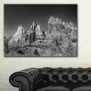 Rising Red Rocks Black and White - Landscape Art Canvas Print