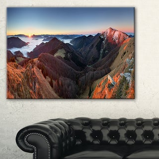 Red Mountain Sunset Panorama - Landscape Artwork Canvas