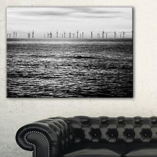 Wind Turbines Black and White - Landscape Artwork Canvas