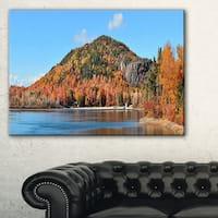 Lake and Beautiful Autumn Foliage - Landscape Artwork Canvas - Green