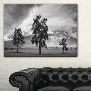 Three Trees in Front of Mountains - Landscape Artwork Canvas