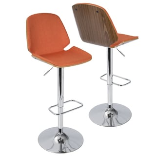 Serena Walnut Wood Adjustable Bar Stool