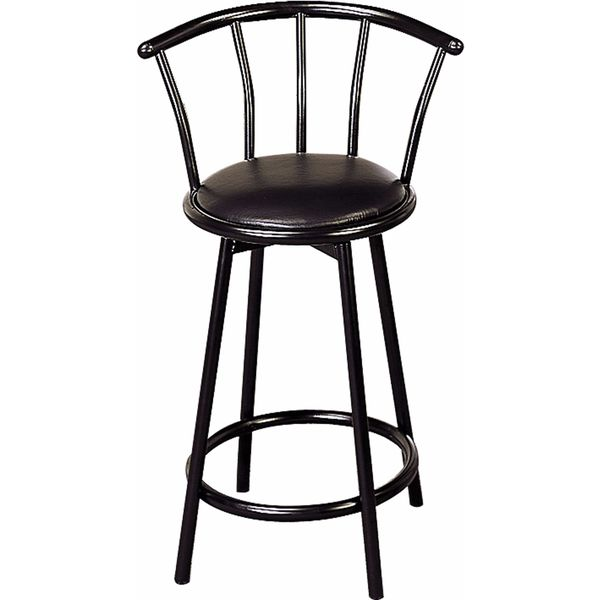 Shop Coaster Company Black Satin Black 24 Inch Swivel Bar Stool