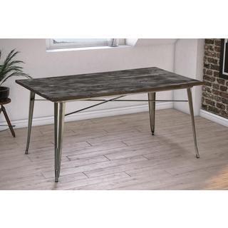 DHP Antique Gun Metal/ Wood Fusion Rectangular Dining Table