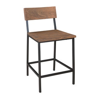 Christopher Knight Home Set of 2 Iron and Wood Counter Height Bar Stools