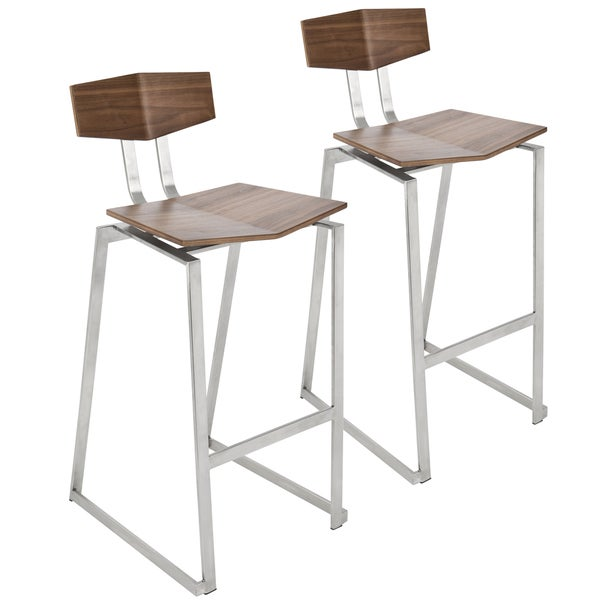 Flight Walnut Wood And Stainless Steel Counter Stool (Set Of 2)