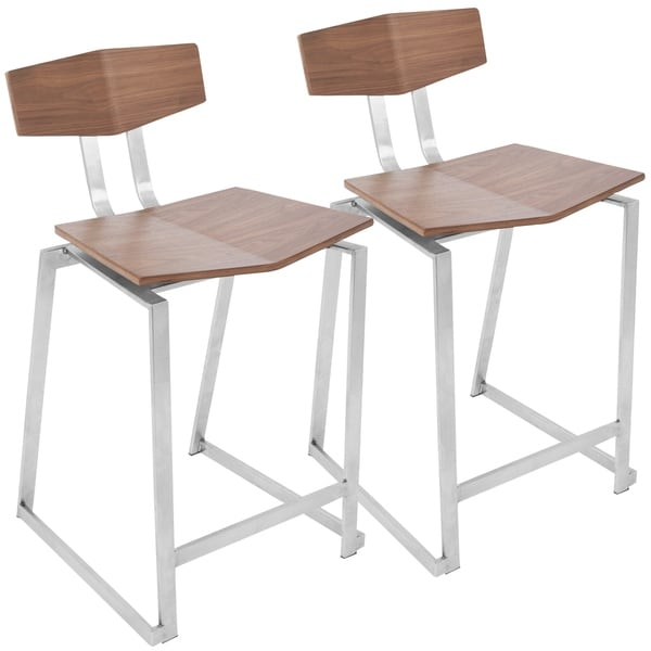 Flight Walnut Wood and Stainless Steel Counter Stool (Set of 2). Opens flyout.